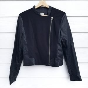Halogen   Black Leather and Cloth Moto Jacket